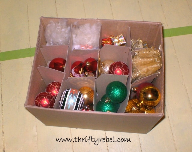 Christmas ornament storage in wine box