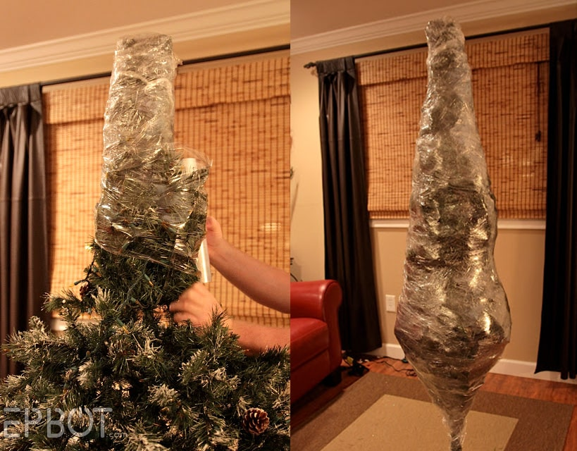 Shrink wrap Christmas tree storage