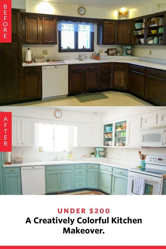 Before and After photos of a freshly painted kitchen